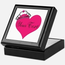 Personalizable Pink Heart with Crown Keepsake Box