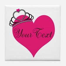Personalizable Pink Heart with Crown Tile Coaster