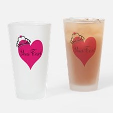 Personalizable Pink Heart with Crown Drinking Glas