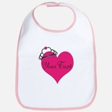 Personalizable Pink Heart with Crown Bib