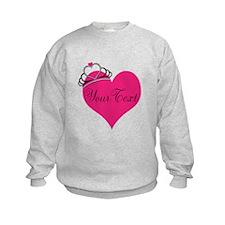 Personalizable Pink Heart with Crown Sweatshirt