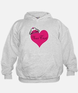 Personalizable Pink Heart with Crown Hoodie