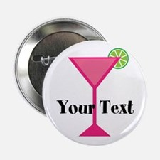 "Personalizable Pink Cocktail 2.25"" Button (10 pack"