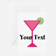 Personalizable Pink Cocktail Greeting Cards
