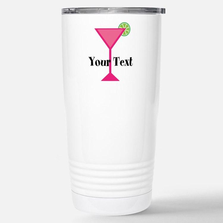 Personalizable Pink Cocktail Travel Mug