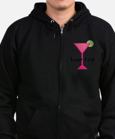 Personalizable Pink Cocktail Zip Hoodie