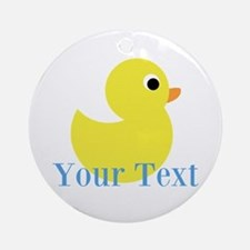 Personalizable Yellow Duck Blue Round Ornament