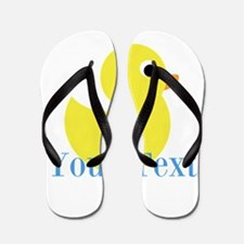 Personalizable Yellow Duck Blue Flip Flops