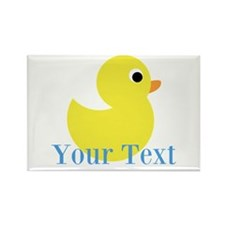 Personalizable Yellow Duck Blue Magnets