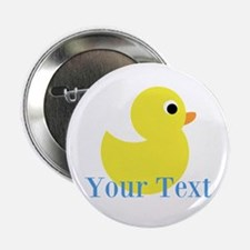 """Personalizable Yellow Duck Blue 2.25"""" Button"""