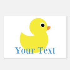Personalizable Yellow Duck Blue Postcards (Package