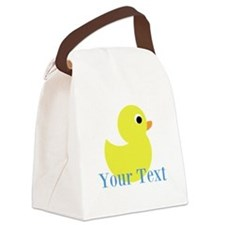 Personalizable Yellow Duck Blue Canvas Lunch Bag