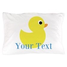 Personalizable Yellow Duck Blue Pillow Case