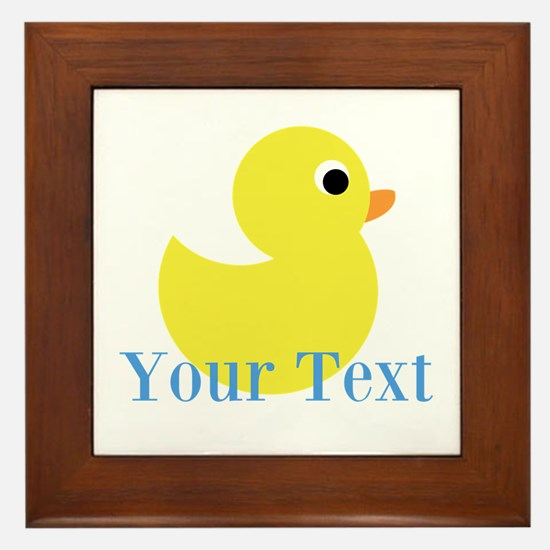Personalizable Yellow Duck Blue Framed Tile