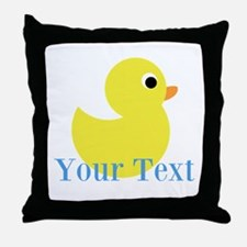 Personalizable Yellow Duck Blue Throw Pillow