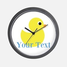 Personalizable Yellow Duck Blue Wall Clock
