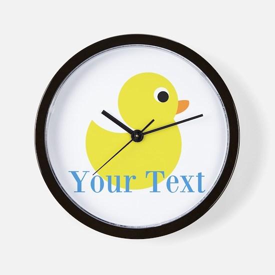 Personalizable Yellow Duck Blue Wall Clock