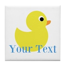 Personalizable Yellow Duck Blue Tile Coaster