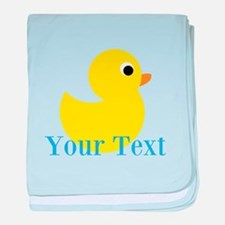 Personalizable Yellow Duck Blue baby blanket