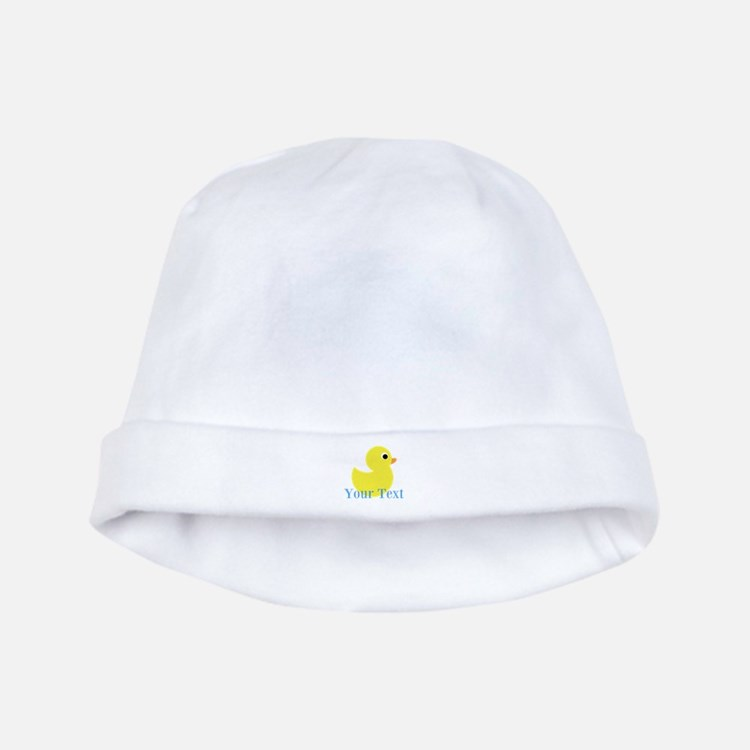 Personalizable Yellow Duck Blue baby hat