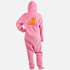 Personalizable Pink Yellow Duck Footed Pajamas