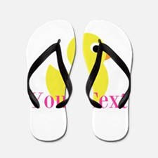 Personalizable Pink Yellow Duck Flip Flops