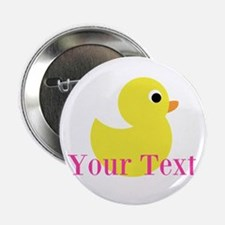 """Personalizable Pink Yellow Duck 2.25"""" Button"""