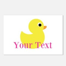 Personalizable Pink Yellow Duck Postcards (Package