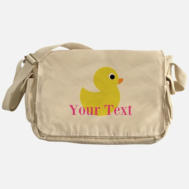 Personalizable Pink Yellow Duck Messenger Bag