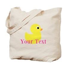 Personalizable Pink Yellow Duck Tote Bag