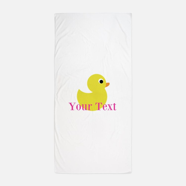 Personalizable Pink Yellow Duck Beach Towel