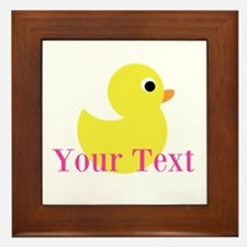 Personalizable Pink Yellow Duck Framed Tile