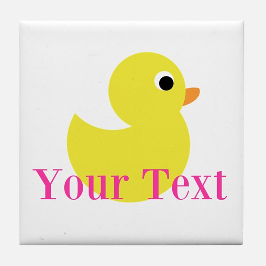 Personalizable Pink Yellow Duck Tile Coaster