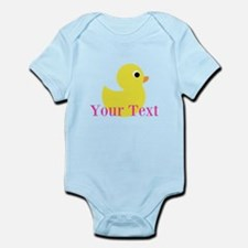 Personalizable Pink Yellow Duck Body Suit