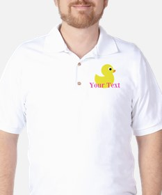 Personalizable Pink Yellow Duck Golf Shirt
