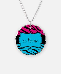 Personalizable Hot Pink and Teal Necklace