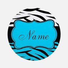 Personalizable Teal and Black Zebra Round Ornament