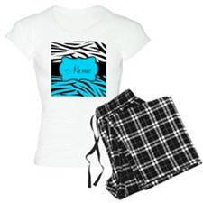 Personalizable Teal and Black Zebra Pajamas