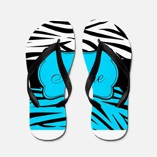 Personalizable Teal and Black Zebra Flip Flops