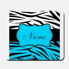 Personalizable Teal and Black Zebra Mousepad
