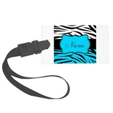 Personalizable Teal and Black Zebra Luggage Tag