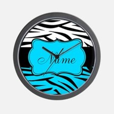 Personalizable Teal and Black Zebra Wall Clock