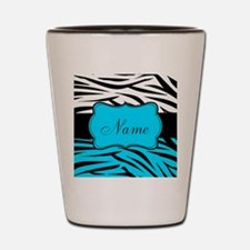 Personalizable Teal and Black Zebra Shot Glass