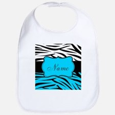 Personalizable Teal and Black Zebra Bib