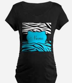 Personalizable Teal and Black Zebra Maternity T-Sh