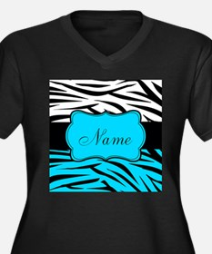 Personalizable Teal and Black Zebra Plus Size T-Sh