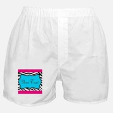 Personalizable Teal Hot Pink Zebra Boxer Shorts