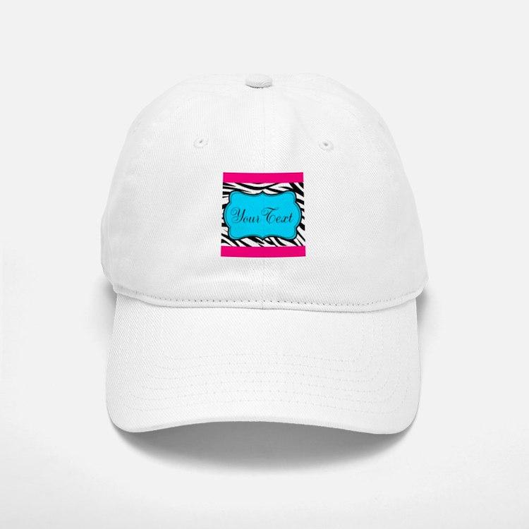 Personalizable Teal Hot Pink Zebra Baseball Baseball Baseball Cap
