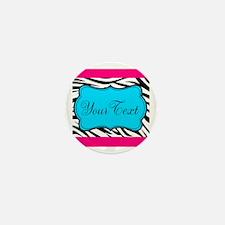 Personalizable Teal Hot Pink Zebra Mini Button (10