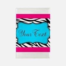 Personalizable Teal Hot Pink Zebra Magnets